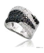 Sterling silver freeform band w black white cz stones 7 16 11mm wide thumbtall