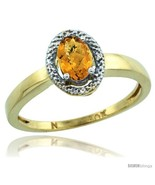 Size 6 - 10k Yellow Gold Diamond Halo whisky Quartz Ring 0.75 Carat Oval... - $251.62