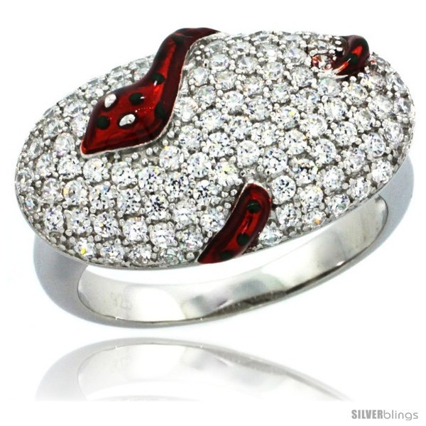 Sterling silver polka dot snake on oval ring w brilliant cut cz stones 1 2 in 13 mm wide