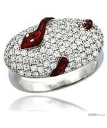 Size 9 - Sterling Silver Polka Dot Snake on Oval Ring w/ Brilliant Cut CZ  - $69.88