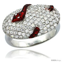 Size 9 - Sterling Silver Polka Dot Snake on Oval Ring w/ Brilliant Cut CZ  - $69.88