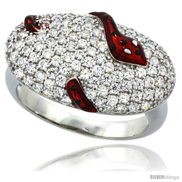 Size 7 - Sterling Silver Polka Dot Snake on Oval Ring w/ Brilliant Cut CZ
