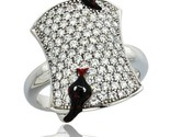 Ka dot black snake on rectangular ring w brilliant cut cz stones 3 4 in 19 mm wide thumb155 crop