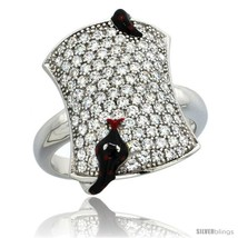 Size 7 - Sterling Silver Polka Dot Black Snake on Rectangular Ring w/ Br... - $44.93