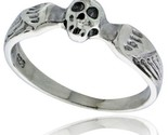 Sterling silver winged skull ring 3 16 in wide thumb155 crop