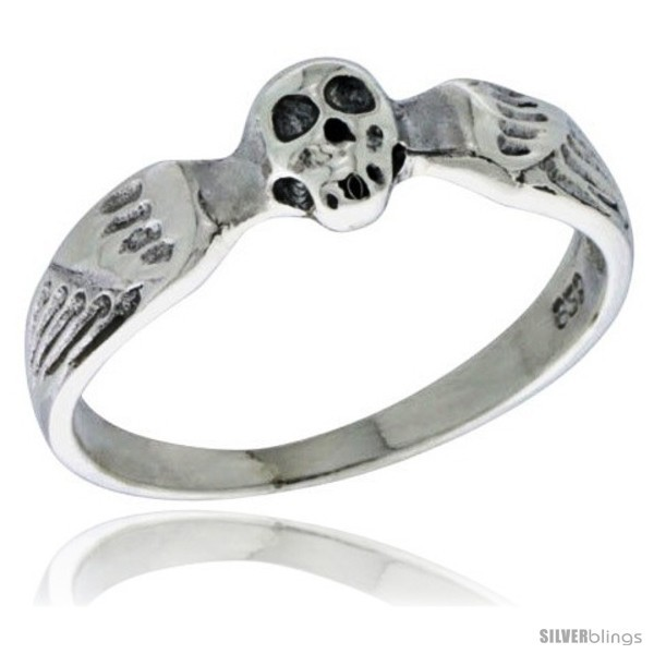 Size 8 - Sterling Silver Winged Skull Ring 3/16 in