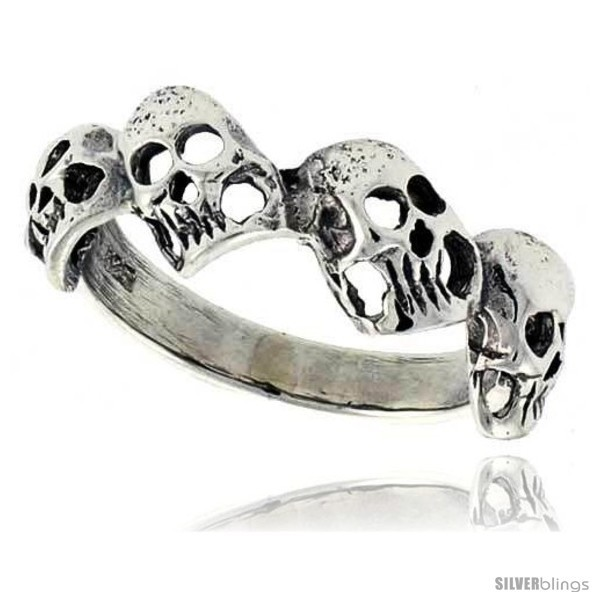 Sterling silver torn skull link ring 5 16 in wide