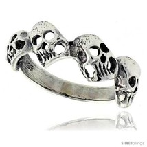 Size 7.5 - Sterling Silver Torn Skull Link Ring 5/16 in  - $19.15