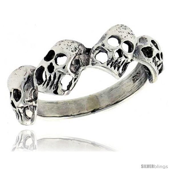 Size 7.5 - Sterling Silver Torn Skull Link Ring 5/16 in