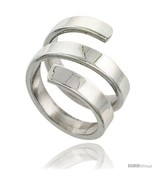 Size 6.5 - Sterling Silver Long Spiral Flat Wire Wrap Ring Handmade 7/8 in  - $85.96