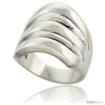 Size 11 - Sterling Silver Domed Cigarband Ring w/ 3 splits 3/4 in  - $46.76