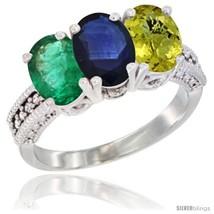 Size 8 - 14K White Gold Natural Emerald, Blue Sapphire & Lemon Quartz Ring  - $811.85