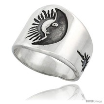 Size 13 - Sterling Silver Sun & Moon Men's Ring... - $45.33