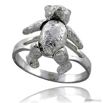 Sterling silver movable teddy bear ring thumb200