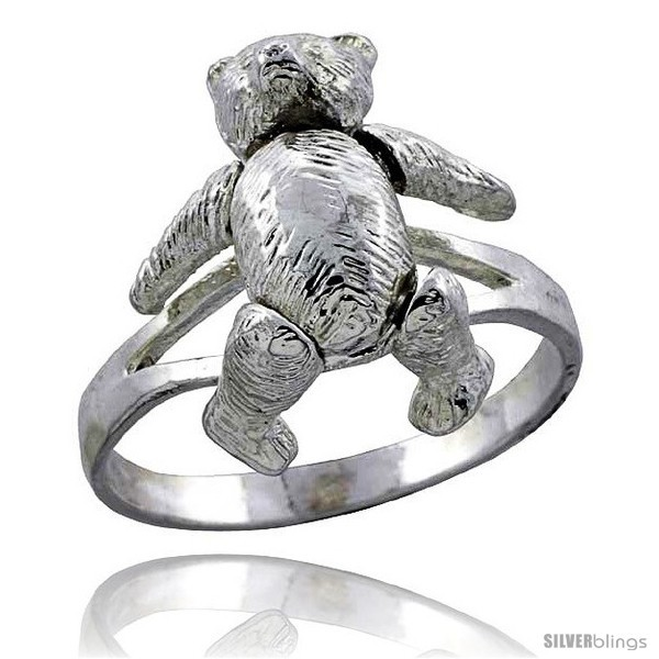 Size 8 - Sterling Silver Movable Teddy Bear