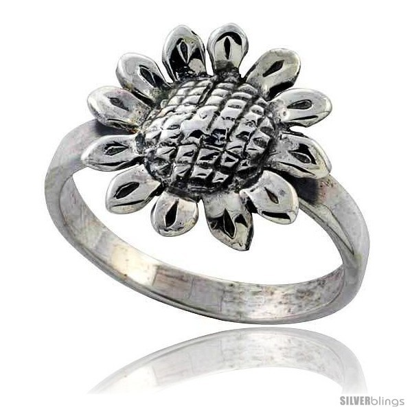 Sterling silver movable sunflower ring 11 16 in wide