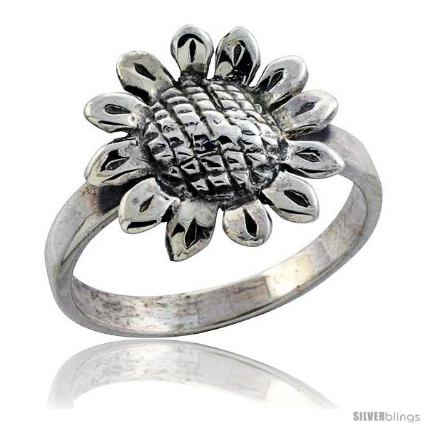 Size 9.5 - Sterling Silver Movable Sunflower Ring, 11/16 in