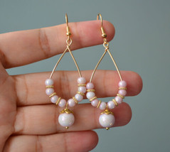 Handmade Pink glass bead gold plated teardrop Earring - $15.99