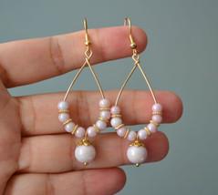 Handmade Pink glass bead gold plated teardrop Earring - $15.99