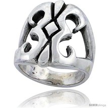 Size 12.5 - Sterling Silver Gothic Biker Tribal Ring 1 in  - $105.24