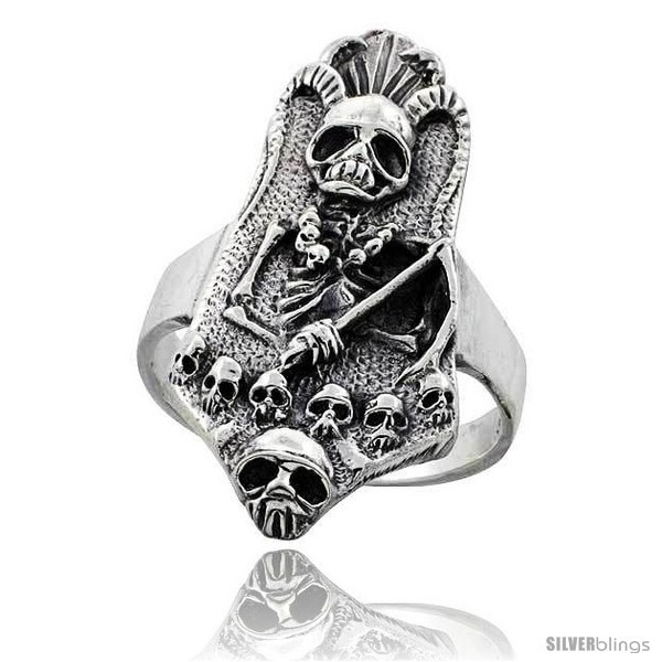 Primary image for Size 12.5 - Sterling Silver Gothic Biker Reaper with Horns Ring 1 3/8 in