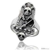 Size 14.5 - Sterling Silver Gothic Biker Reaper with Horns Ring 1 3/8 in  - $58.32
