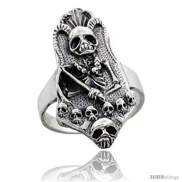 Size 14.5 - Sterling Silver Gothic Biker Reaper with Horns Ring 1 3/8 in