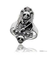 Size 11.5 - Sterling Silver Gothic Biker Reaper with Horns Ring 1 3/8 in  - $58.32