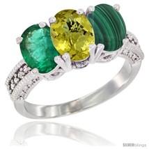 Size 6 - 14K White Gold Natural Emerald, Lemon Quartz & Malachite Ring 3... - $748.32