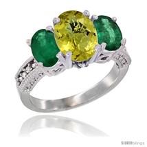 Size 7 - 14K White Gold Ladies 3-Stone Oval Natural Lemon Quartz Ring with  - $885.78