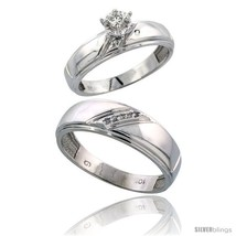 An item in the Jewelry & Watches category: Size 9 - 10k White Gold 2-Piece Diamond wedding Engagement Ring Set for Him &