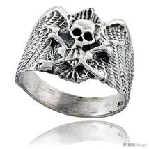 Size 7 - Sterling Silver Skull & Crossbones Gothic Biker Ring 3/4 in  - $43.34