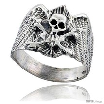 Size 13.5 - Sterling Silver Skull & Crossbones Gothic Biker Ring 3/4 in  - $43.34