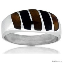 Size 13 - Gent's Sterling Silver Black Obsidian with Tiger Eye Ring -Style  - $60.03