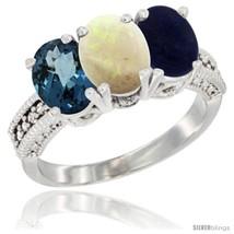 Size 9 - 14K White Gold Natural London Blue Topaz, Opal & Lapis Ring 3-S... - $711.73
