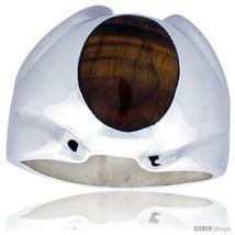 Size 9 - Sterling Silver Oval Tiger Eye Men's Ring 3/4 in. 18  - $70.94