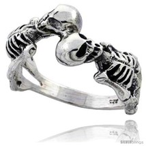 Size 13 - Sterling Silver 2 Skeleton Gothic Biker Ring 1/2 in  - $41.35