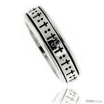 Size 12 - Sterling Silver Men's Spinner Ring Cross Design Handmade 5/16  - $47.32