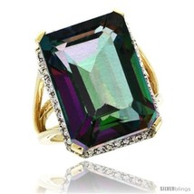 Size 10 - 10k Yellow Gold Diamond Mystic Topaz Ring 14.96 ct Emerald shape  - $904.31