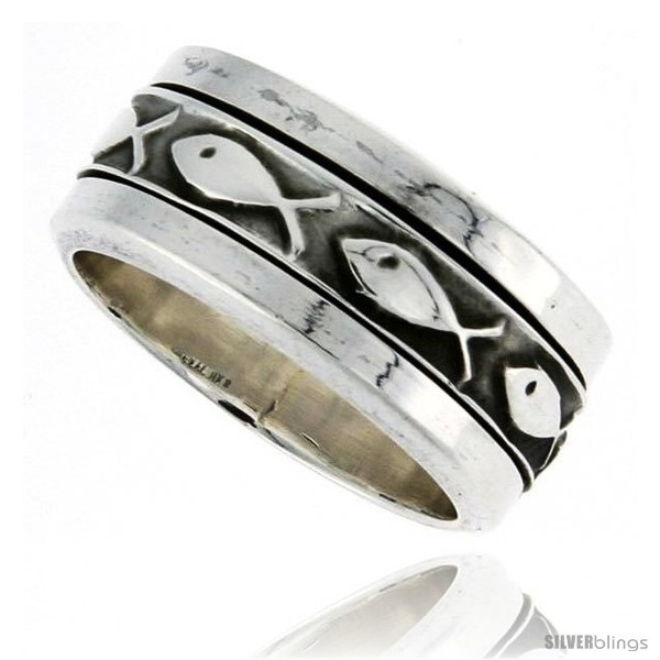 Sterling silver mens spinner ring ichthus christian fish design handmade 5 16 wide