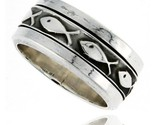 Sterling silver mens spinner ring ichthus christian fish design handmade 5 16 wide thumb155 crop