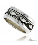Sterling silver mens spinner ring ichthus christian fish design handmade 5 16 wide thumbtall