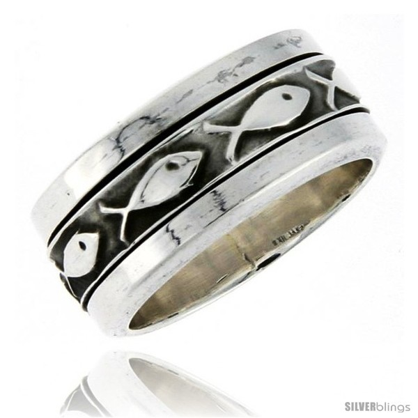 Size 8 - Sterling Silver Men's Spinner Ring Ichthus Christian Fish Design