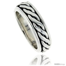 Size 10 - Sterling Silver Men's Spinner Ring Rope Design Handmade 5/16 w... - $80.51