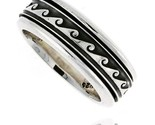 Sterling silver mens spinner ring wave design handmade 5 16 wide thumb155 crop