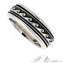 Size 10 - Sterling Silver Men's Spinner Ring Wave Design Handmade 5/16  - $78.25