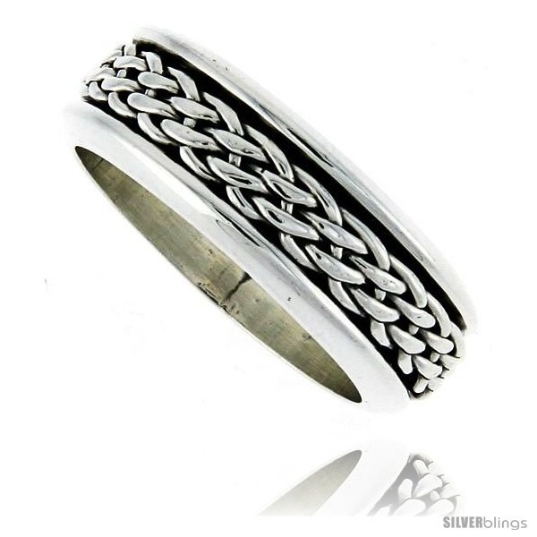 Sterling silver mens spinner ring woven design handmade 5 16 wide