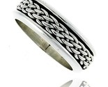 Sterling silver mens spinner ring woven design handmade 5 16 wide thumb155 crop