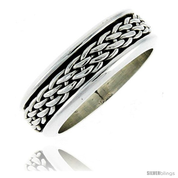 Size 12 - Sterling Silver Men's Spinner Ring Woven Design Handmade 5/16
