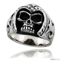 Size 13.5 - Sterling Silver Skull Ring with Arm... - $75.48